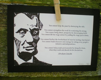 Abraham Lincoln Letterpress Postcard Charity Democracy Quote Matted
