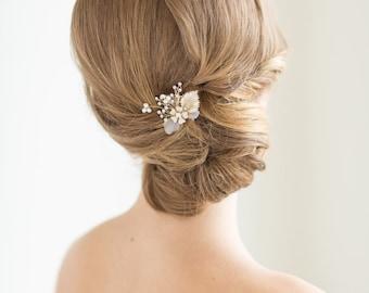 Gold Wedding Hair Pin, Silver Bridal Hair pin, Freshwater Pearl Wedding Hair Pin, Bridal Flower Hair Pin