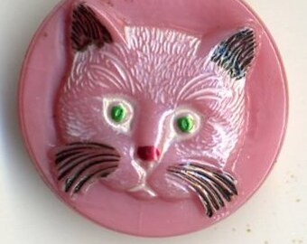Czech glass button pink glass with white and black cat - size 10, 22.5 mm  FCB 1197