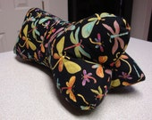 Colorful Dragonfly Dog Bone Shaped Pillow in Black with Gold Metallic Detail
