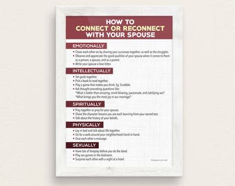 How To Connect Or Reconnect With Your Spouse Therapy Poster