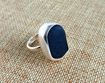 Black Spanish  Pirate's Sea Glass Sterling Ring