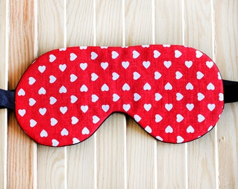 Sleep Mask Heart pattern, Red Blindfold Bachelorette Party Favors, Girlfriend Gift, Travel Eye Mask, Valentine's Day gift, Bridesmaid Gift