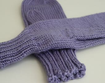 Lavender Mittens, Knit Mittens for Small Adults, Purple Teen Mittens, Lavender Blue Mittens for Women, Ladies Size Small Mittens