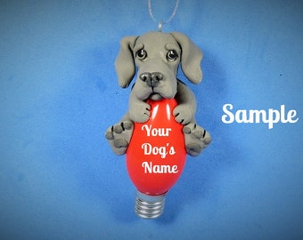 Blue Great Dane Dog Natural or CROPPED ears Christmas Holidays Light Bulb Ornament Sally's Bits of Clay PERSONALIZED FREE with dog's name