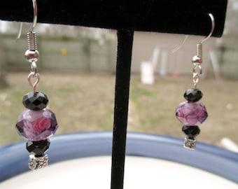 Purple Amethyst Black Crystal Beaded Earrings with Silver Fishhook Posts