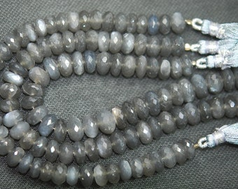 8 Inch Strand,Finest Quality  GREY MOONSTONE Faceted Rondelles, 7-8mm size