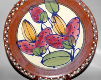 Handmade Ceramic decorative Plate with hanger