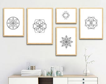 Geometry Shapes, Abstract printable art, gift ideas, home decoration wall art, digital download, print at home, 28-36