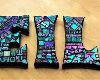"""MOSAIC LETTERS/INITIALS - 7"""" Tall - Totally Customizable Mixed Media - 'Wild & Funky' Style - Order 7"""" Size from this Listing - Unique/Ooak!"""