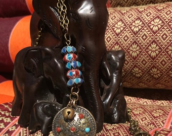 Tibetan Pendant necklace with Lotus Beads and Thai Bell