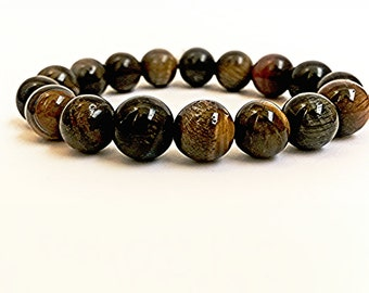 Tiger Eye Beaded Bracelet Jewelry  Natural Stone Round Beads Tiger's eye  Stackable Bracelet with Brown Beads Handmade Bracelet 10 mm