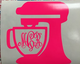 Stand Mixer Decal, Baking Decal, Monogram Mixer Decal, Personalized Decal, Yeti Cup Sticker, Window sticker, Free shipping