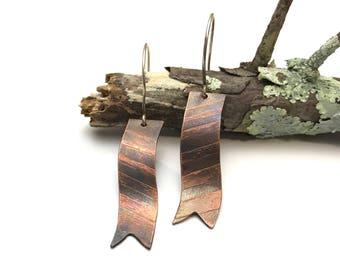 Copper chevron ribbon earrings.