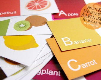 Printable Alphabet Flashcards - Fruits and Vegetables