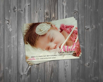 Birth Announcement, Newborn Birth Announcement, Pink Birth Announcement, Girl Birth Announcement
