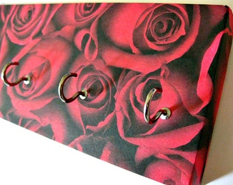 "Rose Key Rack Rose Valentines Day Jewelry Holder Floral Jewelry Organizer Flower Jewelry Hanger Rose Key Wall Hook Red Roses - ""Rose"""