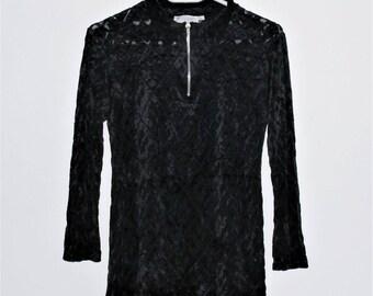Vintage Burnout Velvet Top Velvet Blouse  Blouses Burnout Velvet Top Black Velvet Top Black Velvet Shirt Black Blouse Black Top Medium