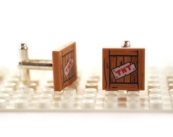 TNT Wood Grain box cufflinks. Cufflinks made with LEGO(R) bricks. High Explosive Cuff links Cufflink Wedding gift