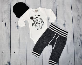 Newborn Boy Coming Home Outfit Baby Boy Outfit Oh The Places You'll Go Newborn Baby Boy Coming Home Set Take Me Home Set