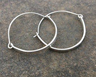 Silver Hoops with Strips Earrings - Hand Forged Sterling Silver Wire and Strip
