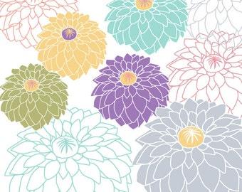 50% OFF SALE Digital Flowers - Dahlia Clipart - Digital Clipart for digital scrapbooking, invitation, photo card