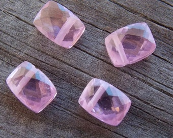 4 Pink Rectangle Shaped Cubic Zirconia Beads Top Drilled 8mm