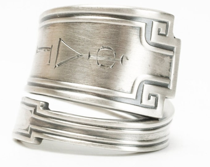 Greek Key Ring, Art Deco Ring, Sterling Silver Spoon Ring, Phi Delta Gamma, Minimalist Ring, Antique Gorham Etruscan, Adjustable Ring (5932)