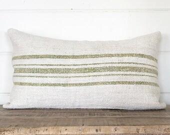 Vintage Handwoven European Grain Sack Pillow Cover/SUSANNAH 14 x 24