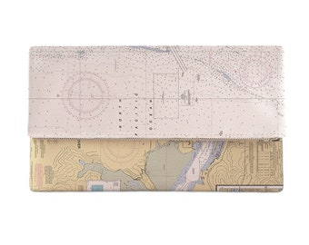 OR: Yaquina Bay and River, OR Nautical Chart Clutch, Map Clutch Bag, Map Purse