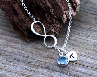 INFINITY Necklaces, Personalized Birthstone And initial . Sister gift, Sisters necklace mother daughter, friendship - Mom and Daughter .
