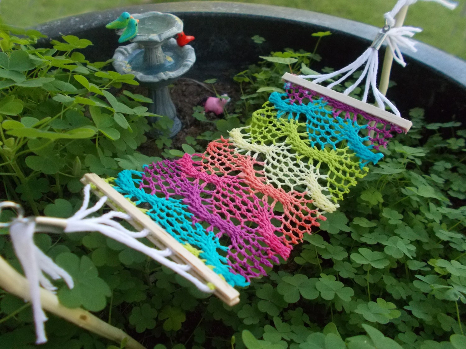 zoom bohemian fairy garden hammock crocheted fabric miniature fairy  rh   etsy