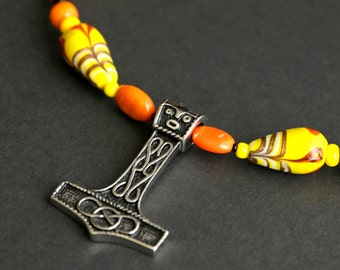 Mjolnir Necklace. Treasure Necklace. Yellow Necklace. Viking Necklace. Orange Necklace. Beaded Necklace. 14 inches (35.5 cm) SCA Jewelry