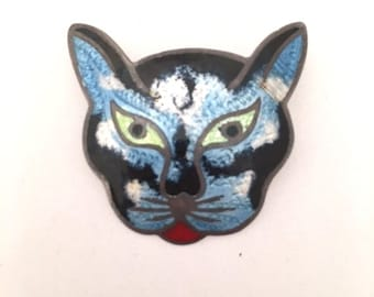 JERONIMO FUENTES CAT Face Pin Brooch - Mexico Sterling