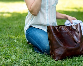 Leather Bag, Leather Tote Bag,  Leather Shoulder Bag, Leather Handbag, Brown Shoulder Bag, Floto Piazza Tote (5591BROWN)