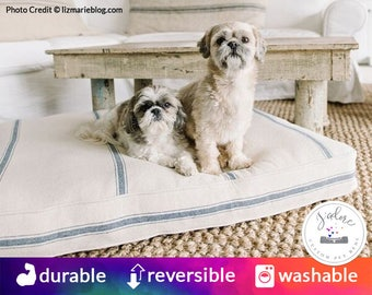 French Country Rectangle Dog Bed | Reproduction Grain Sack Material | Washable Cover | Choose Your Color