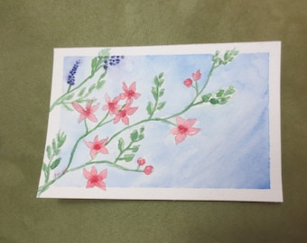 Wild Flower Watercolor Postcard