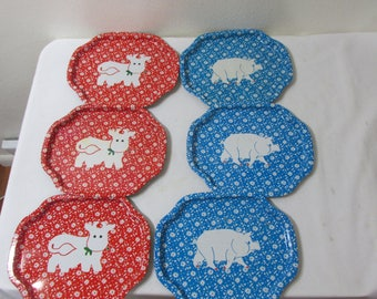 Metal Tip Trays Set of 6 Vintage Farmhouse Pig and Cow Decor Red White and Blue