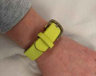 """Neon Yellow Buckle Cuff Adjustable Bracelet - Upcycled from a Leather Belt - Size Small 5 1/2"""" - 6 1/2"""" Wrist"""