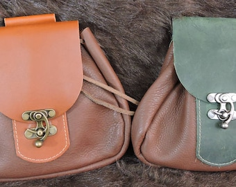 In Stock Large Economy Sporran Design Leather Belt Bag / Pouch Medieval, Bushcraft, Costume, Ren Faire, Brown