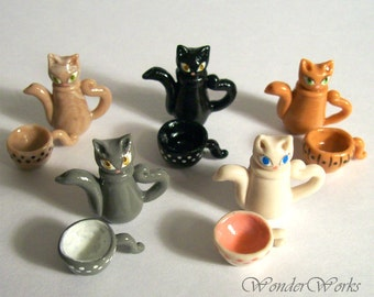 Miniature Kitty Cat Teapot w/ Cup & Tiny Spoon Choose One Hand Sculpted Dollhouse 1:12 Scale in Your Kitty Color