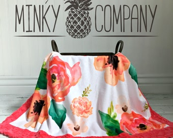 Flower Baby Blanket - Large Blooms Designer Minky - Watermelon