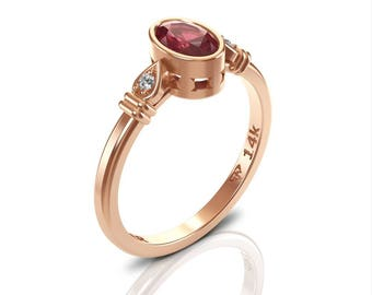 ruby ring rose gold, July birthstone ring, dainty ruby ring, ruby 14k gold ring, red gemstone ring, ruby with diamond ring, oval ruby, Gift