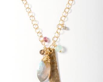 Gemstone Cluster Necklace, Cluster Necklace, Gemstone Jewelry, Gold Necklace, Hammered Bar Necklace, Multi Gemstone Necklace, Colorful