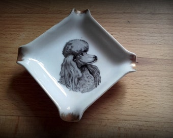 Vintage 50's Mid Century Rare  small Fairylite Porcelain Poodle ashtray