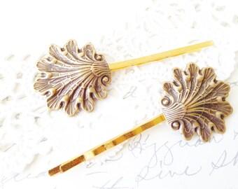 Ox Brass Shell Hair Pins - Seashell Bobby Pin Set - Shell Hair Accessory - Beach Shell Hair Pins - Beach Wedding - Bridal Hair