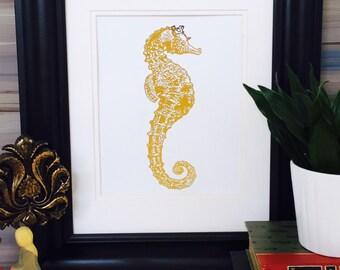 Seahorse Wall Decor, Coastal Wall Art, Gold Foil Print, Coastal Seashore, Sea Horse, Beach Nautical Art Seahorse Decor