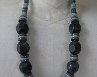 Chunky Gray Bead Necklace Vintage