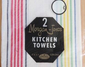 Vintage Kitchen Towels  MIP Morgan Jones Rainbow Stripe Set of 2