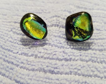 Dragon Scales Dichroic Glass Earrings